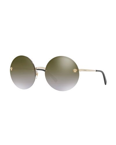 d8210e89d1ce Versace Rimless Round Mirrored Sunglasses