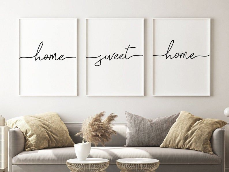 home sweet home print wall art set of 3,wall decor living room modern,Scandinavian minimalist,gallery wall printable,hallway print download