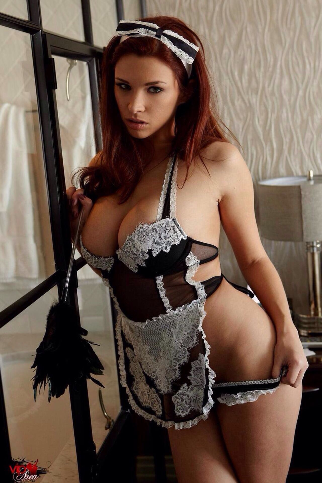 french maid nude lingerie