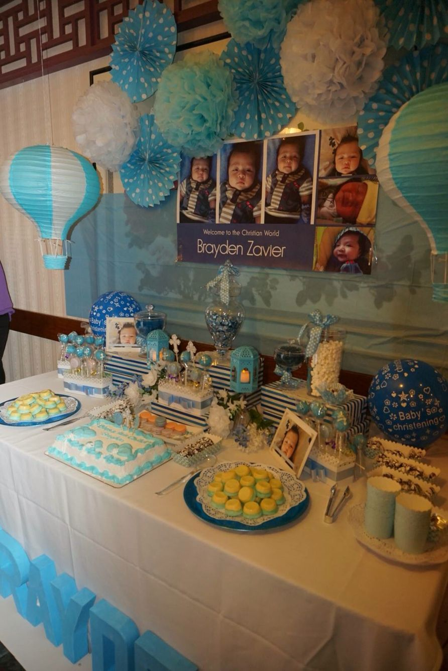 Blue And White Theme Baby Christening Christening Themes Baby Christening Blue And White