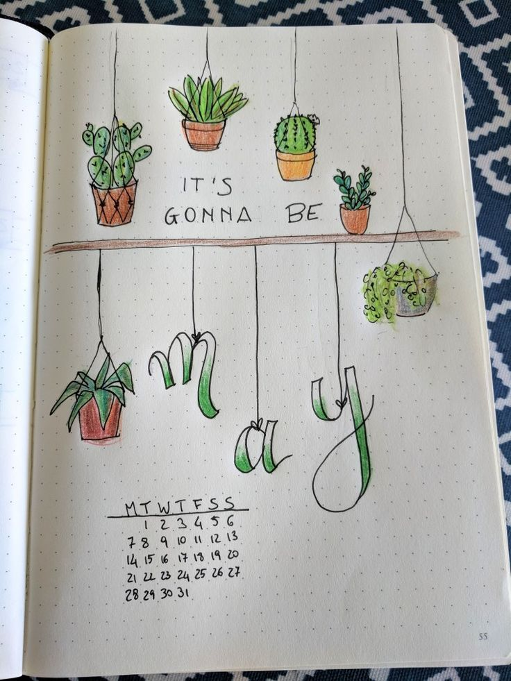 Bullet Journal May page - succulent theme   Bullet ...
