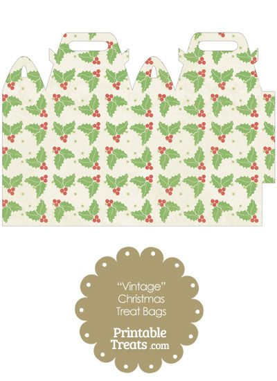 Vintage Christmas Holly Treat Bag from PrintableTreats.com