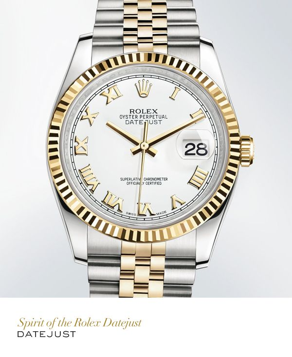 f7a6cd4b1d1 Rolex Datejust 36mm in 904L steel and yellow gold with a fluted bezel, a white  dial and Jubilee bracelet. #RolexOfficial. Available at Hingham Jewelers!