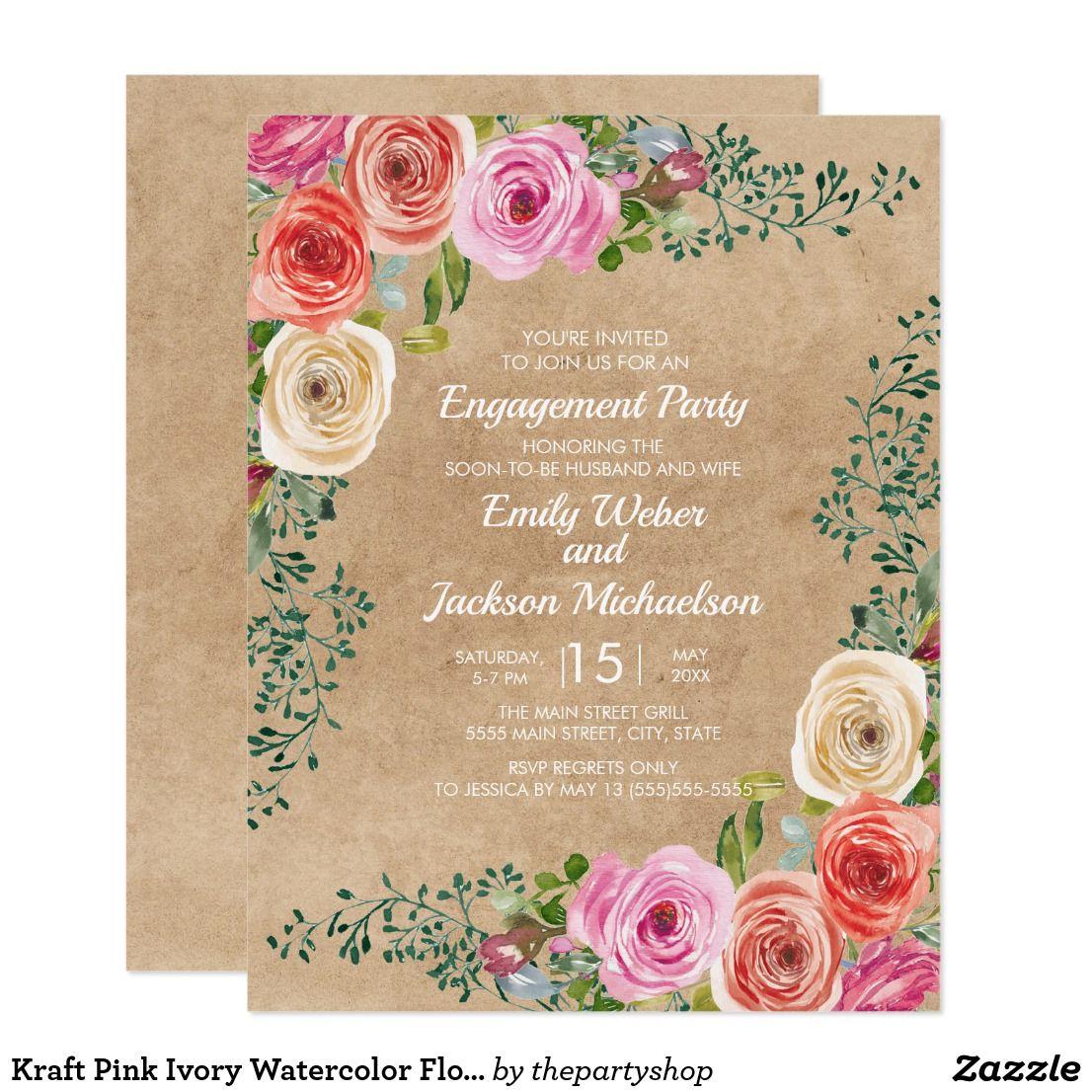 Kraft Pink Ivory Watercolor Floral Engagement Invitation