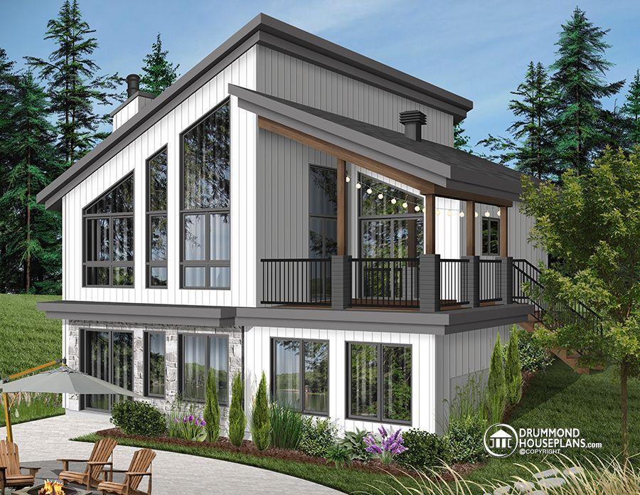 House Plan Malbaie No 3998 With Images Lake House Plans Small Lake Houses Modern Lake House