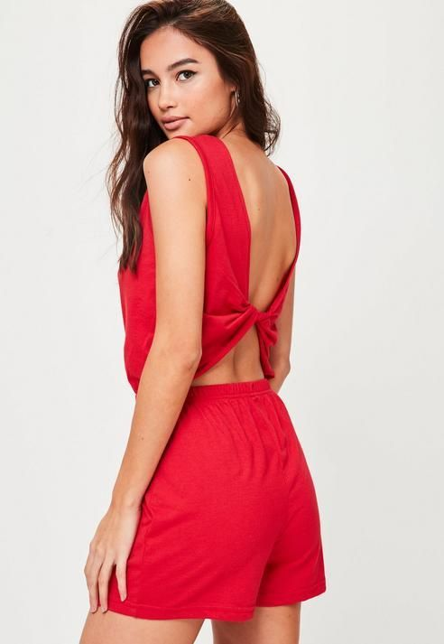 67f991b3fe Missguided Red Wrap Back Jersey Romper
