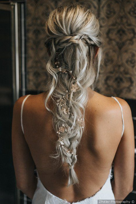 Stunning wedding hair inspo - half up with a loose braid styled with florals {ZPotler Photography} #loosebraids