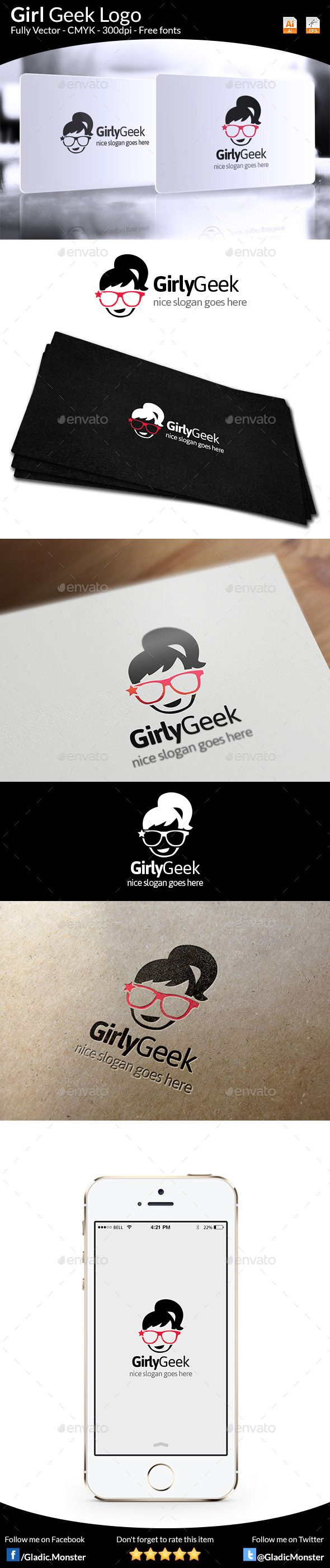 Girl Geek Logo Template Vector EPS, AI Illustrator. Download here ...