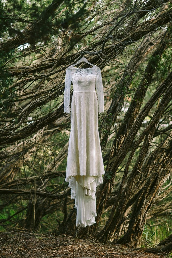 A barefoot bride & her long-sleeved Mariana Hardwick Wedding Dress for A Romantic Forest Elopement | itakeyou