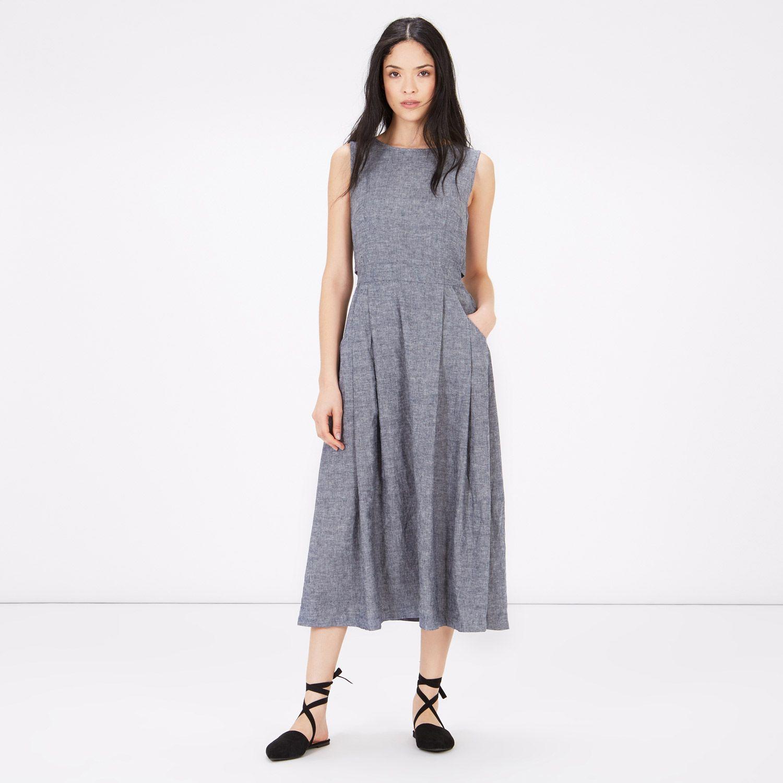 Linen Open Back Midi Dress