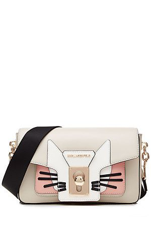 KARL LAGERFELD K/Pin Closure Choupette Leather Shoulder Bag #Stylebop