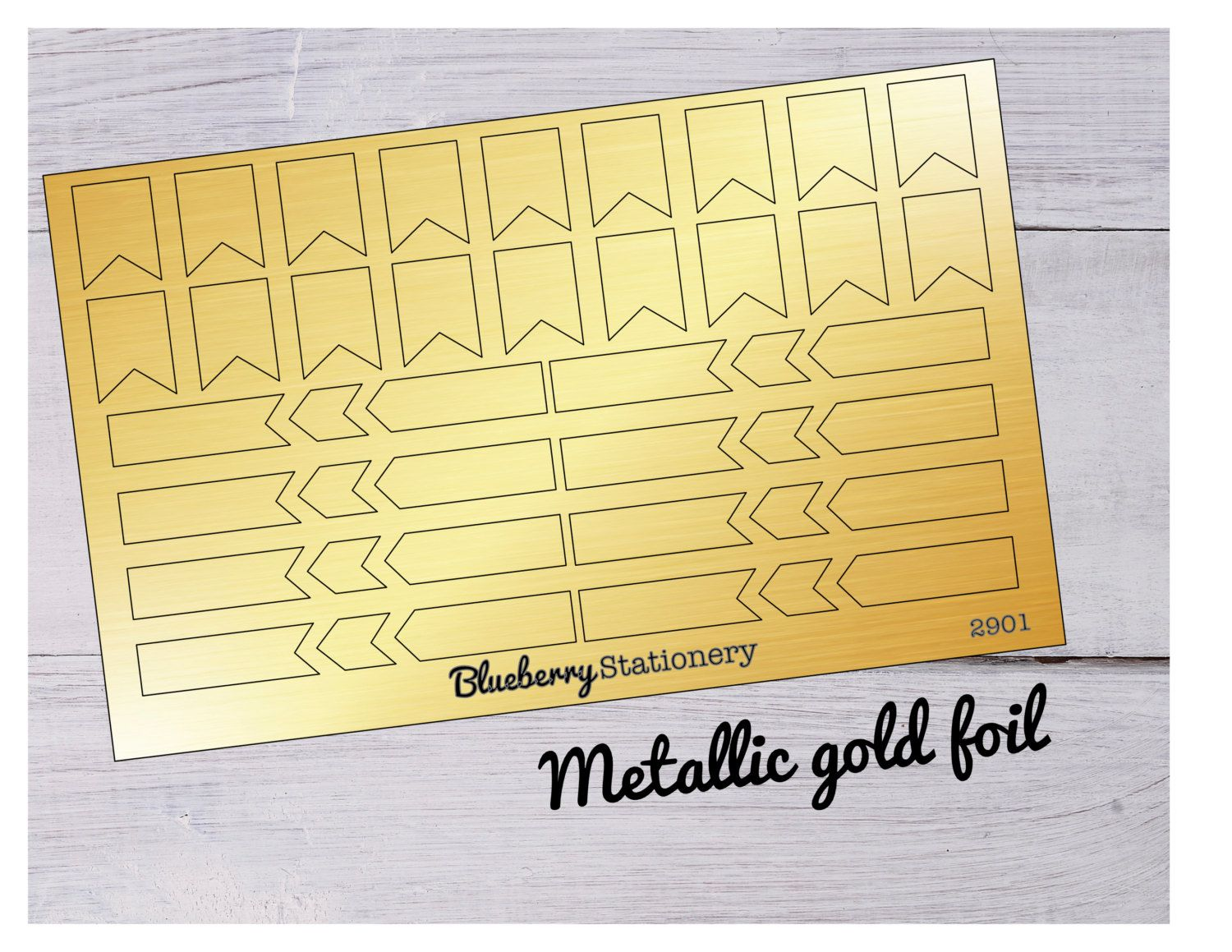 Gold foil flag - tag Project life and planner Stickers for Kikki K, Erin Condren, Filofax or any Planner de la boutique BlueberryStationery sur Etsy