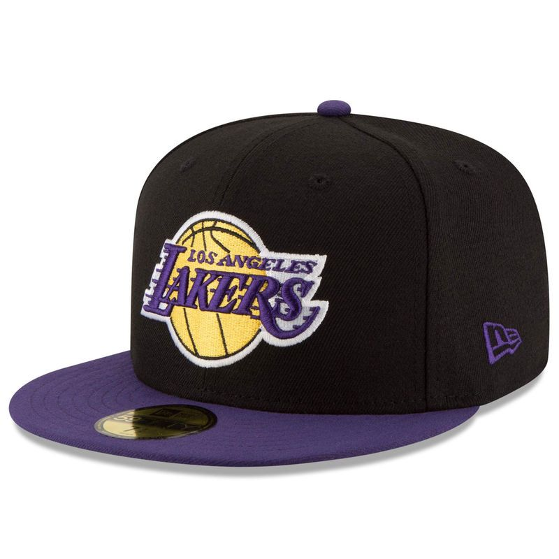 Los Angeles Lakers New Era Official Team Color 2tone 59fifty Fitted Hat Black Purple In 2021 Fitted Hats Los Angeles Lakers Lakers Hat