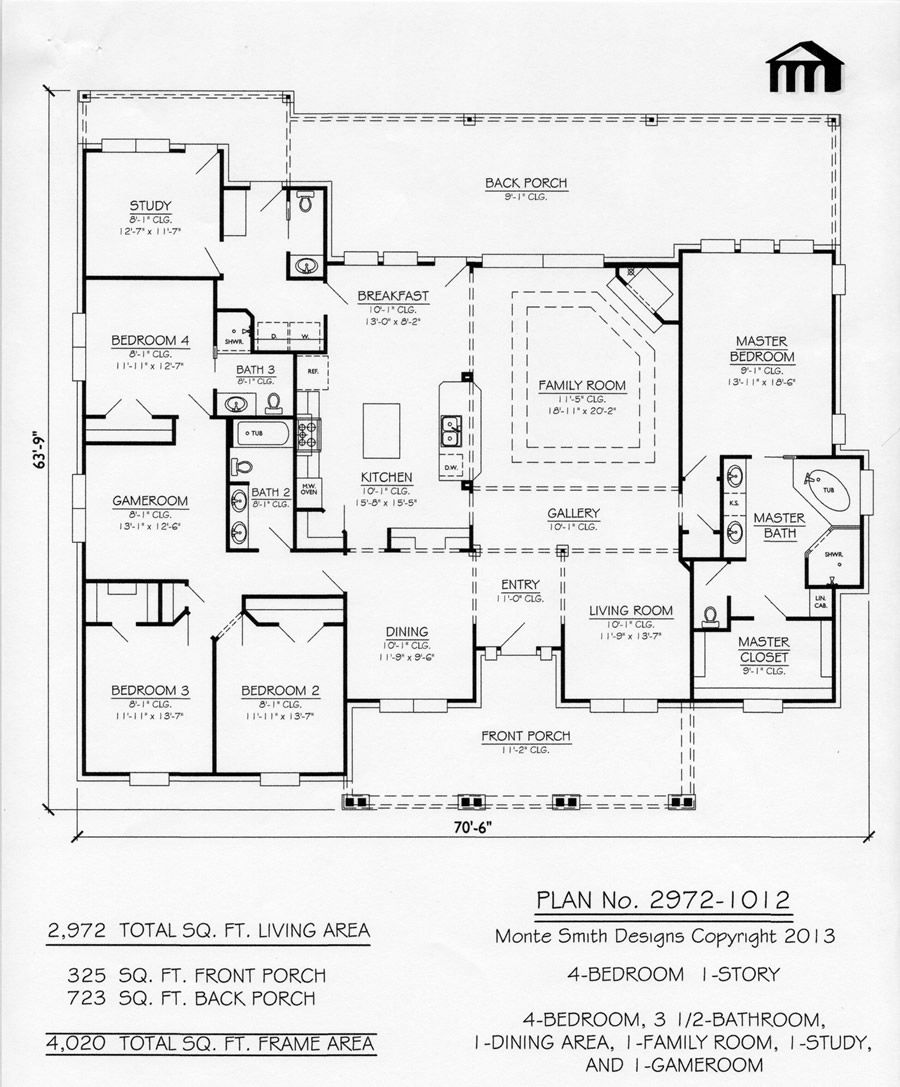 House Plans With Media Room: 1 Story, 4 Bedroom, 3.5 Bathroom, 1 Dining Room, 1 Family