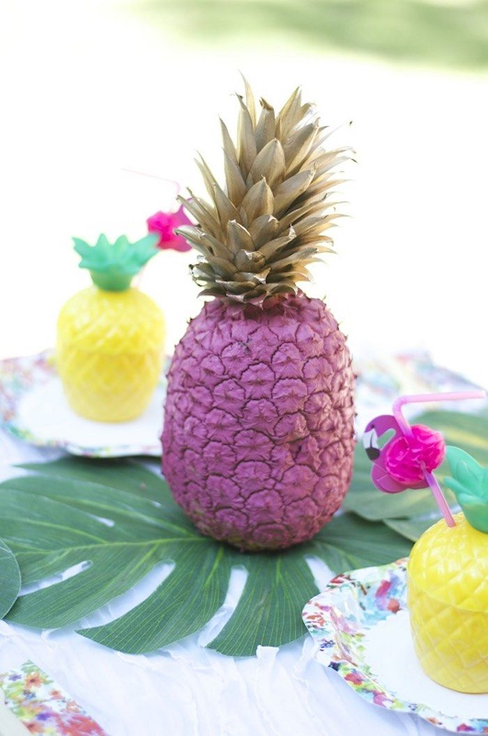 Pineapple Centerpiece From A Tropical Flamingo Themed