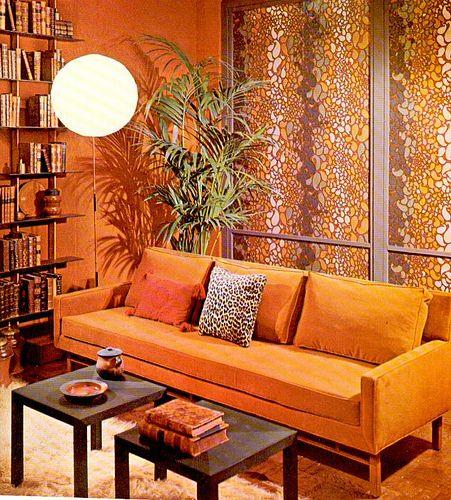 Decoração Laranja e Marrom   Decora Clube Blog   Living room orange, 70s  home decor, 1960s living room