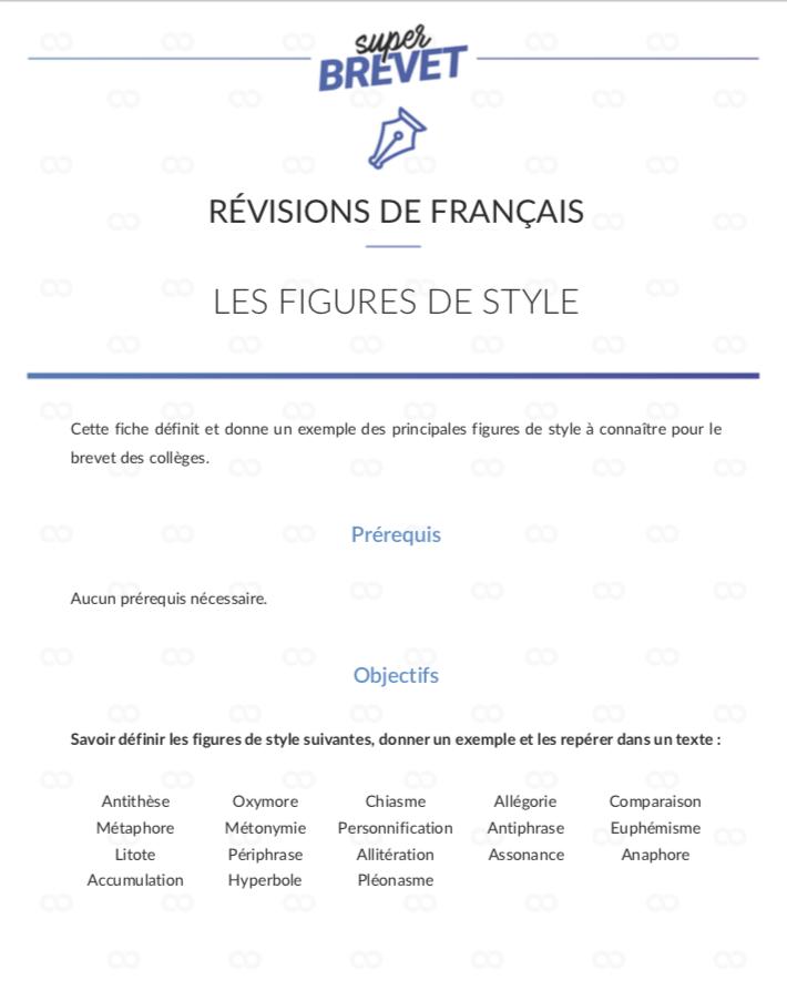 Fiche Revision Brevet Francais Pdf : fiche, revision, brevet, francais, Figures, Style, Cours, Français, 3ème, 3ème,, Brevet, Français,, Figure