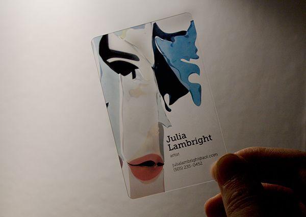 Transparent plastic business card for artist Julia Lambright, USA.