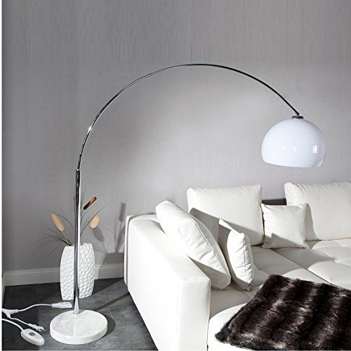 Epic BIG BOW RETRO DESIGN LAMPE WEISS h henverstellbar mit Dimmer XTRADEFACTORY Lounge Stehlampe