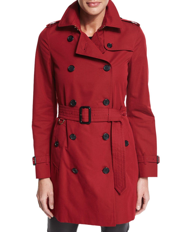 6be4f9c5169 Kensington Mid-Length Trenchcoat, Red - Burberry London   *Neiman ...