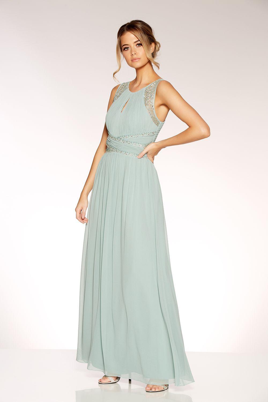 d22ff65c26e5 Sage Green Chiffon High Neck Embellished Maxi Dress - Quiz Clothing ...