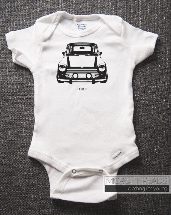 Baby Onesie Organic Cotton Mini Cooper Screen By Microthreads 18 00
