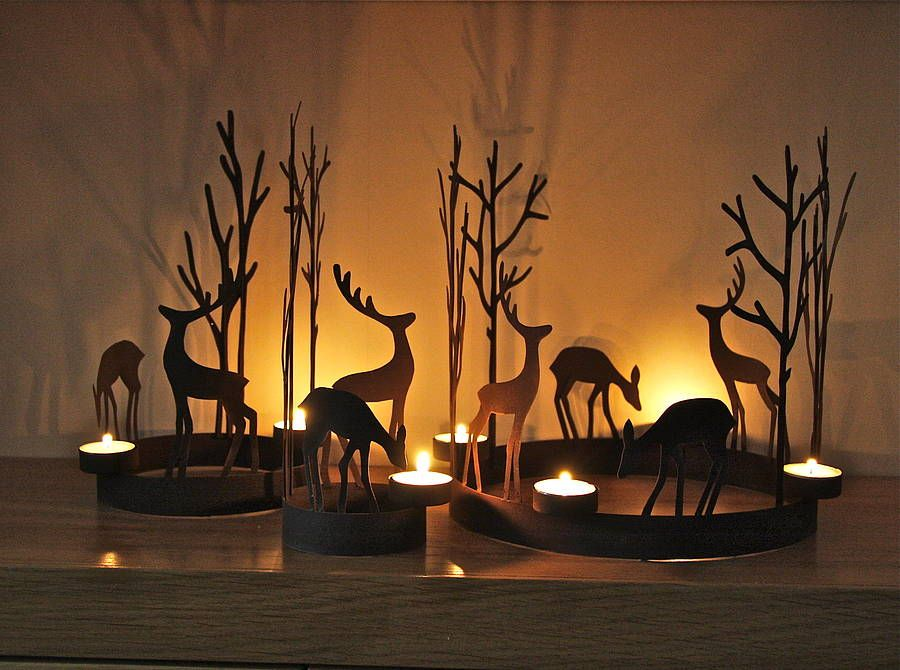 set of three reindeer tealight rings by london garden trading | notonthehighstreet.com