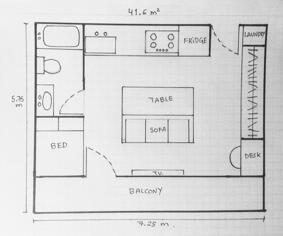 Tiny House 41 Square Meters Layout Apartment Floor Plans House Layouts Floor Plans
