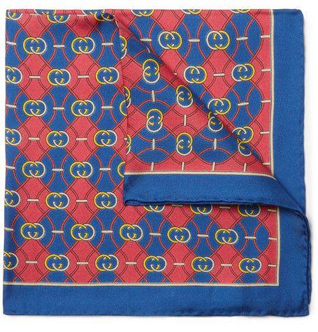 Red Silk Pocket Square Blue