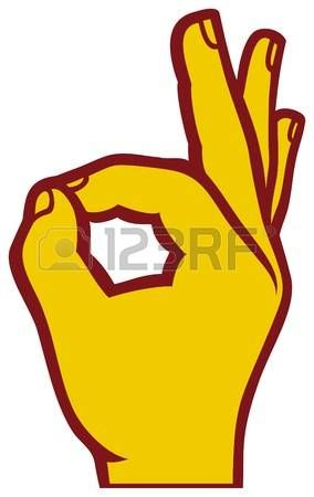 Ok With Green Text Over Blue Color Background Symbol Drawing Hand Symbols Ok Hand Sign