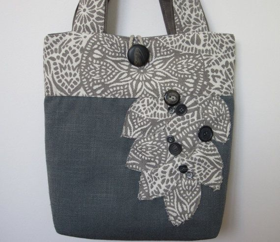 Grey Handmade Womens Tote Bag Blue by BerkshireCollections on Etsy