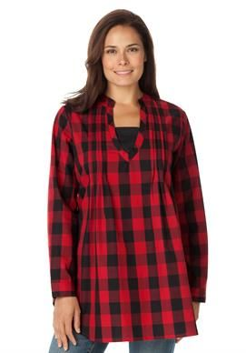 fca9ead5f6c Plaid layered-look tunic shirt with long sleeves, inset, front pleats | Plus  Size New Arrivals | Woman Within