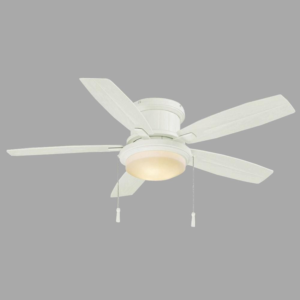 Hampton Bay Roanoke 48 In Led Indoor Outdoor Matte White Ceiling Fan With Light Kit Yg216 Mwh The Home Depot