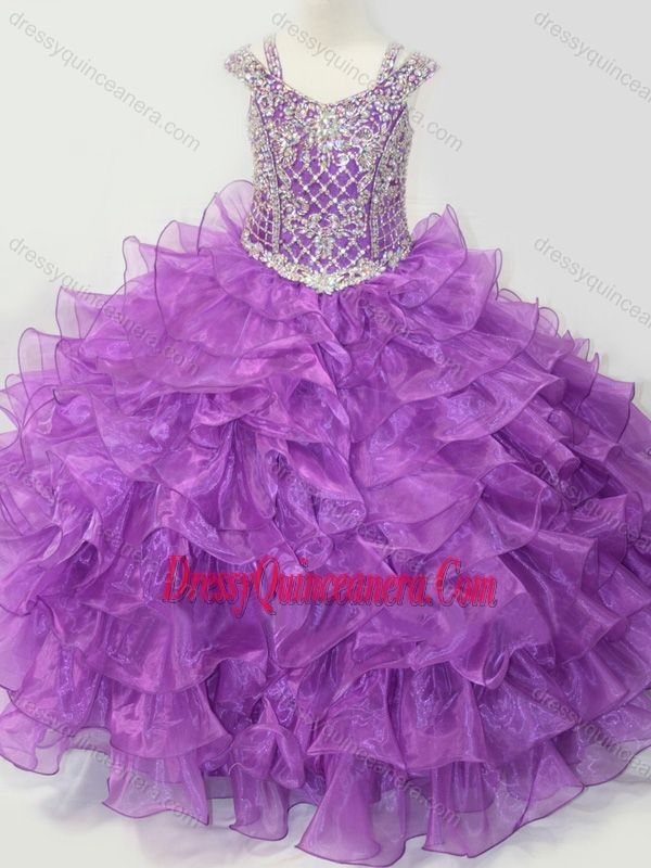 6fe7c250a4f Puffy Skirt V-neck Lace Up Mini Quinceanera Dress with Straps and Ruffled  Layers