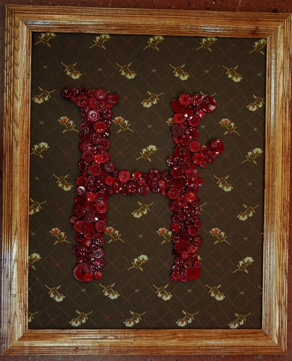 H Monogram Made From Buttons Diy Wood Signs Create Diy Personalized Wood Signs