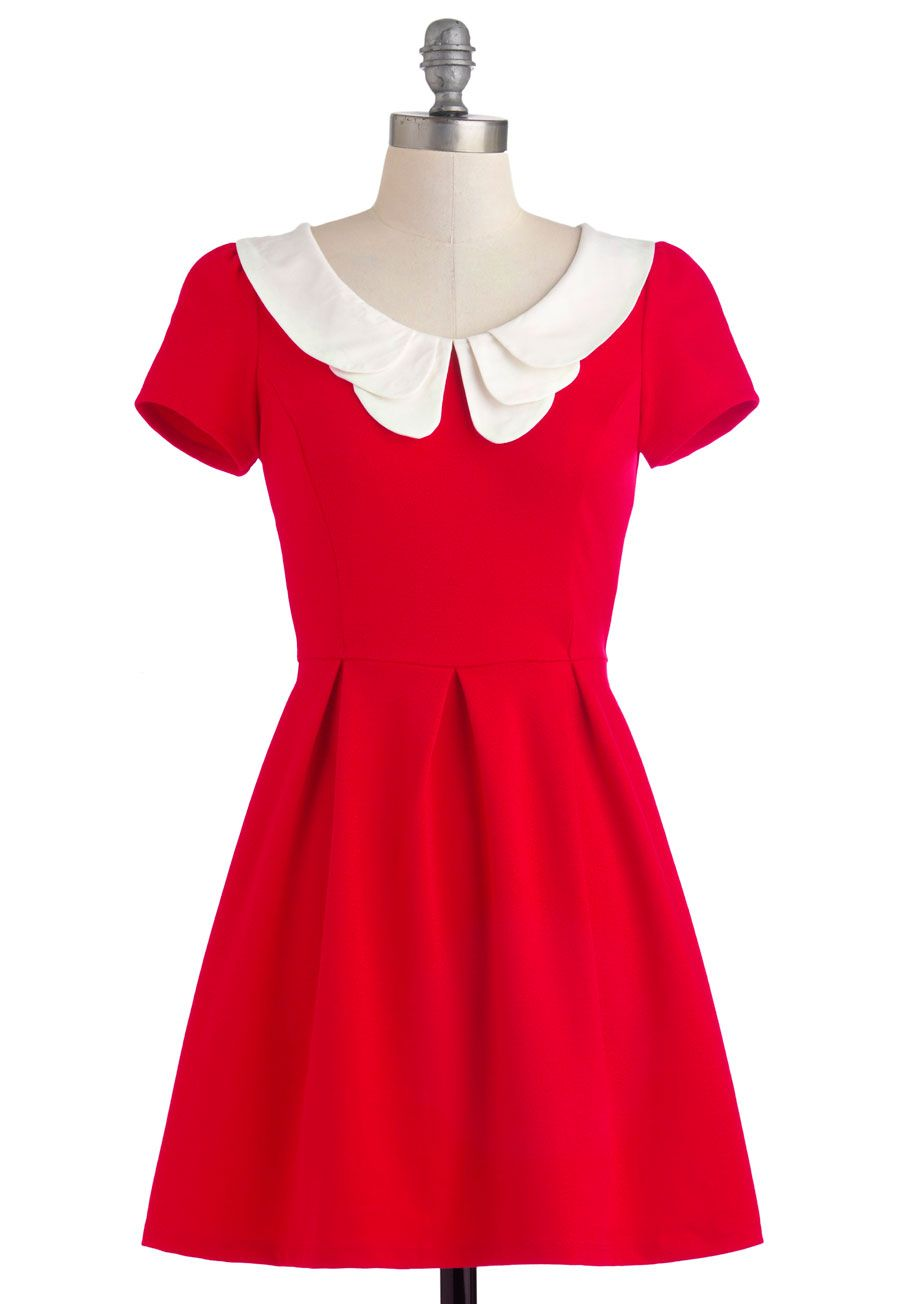 Looking to Tomorrow Dress - Mid-length, Red, White, Solid, Peter Pan Collar, Casual, Vintage Inspired, A-line, Short Sleeves, Exposed zipper, Party, Fall