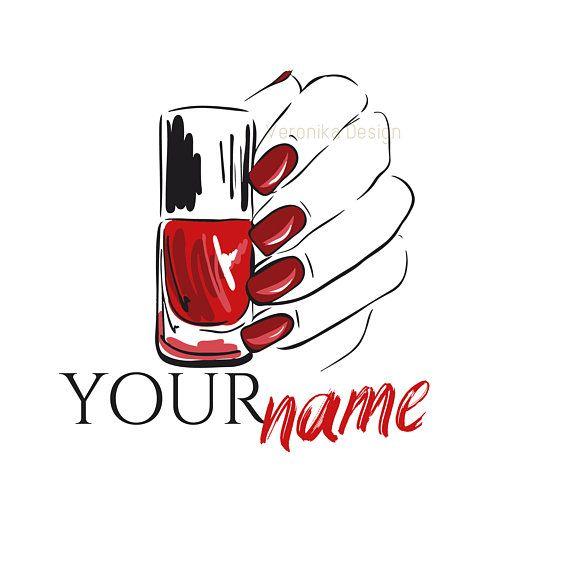 nail salon logo beauty red