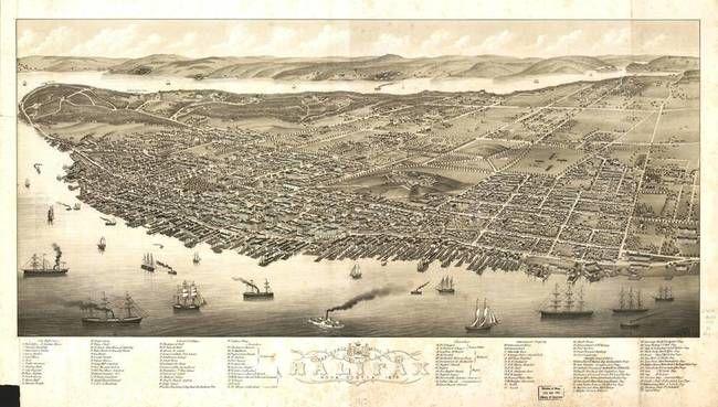 Vintage Map of Halifax Nova Scotia circa 1879