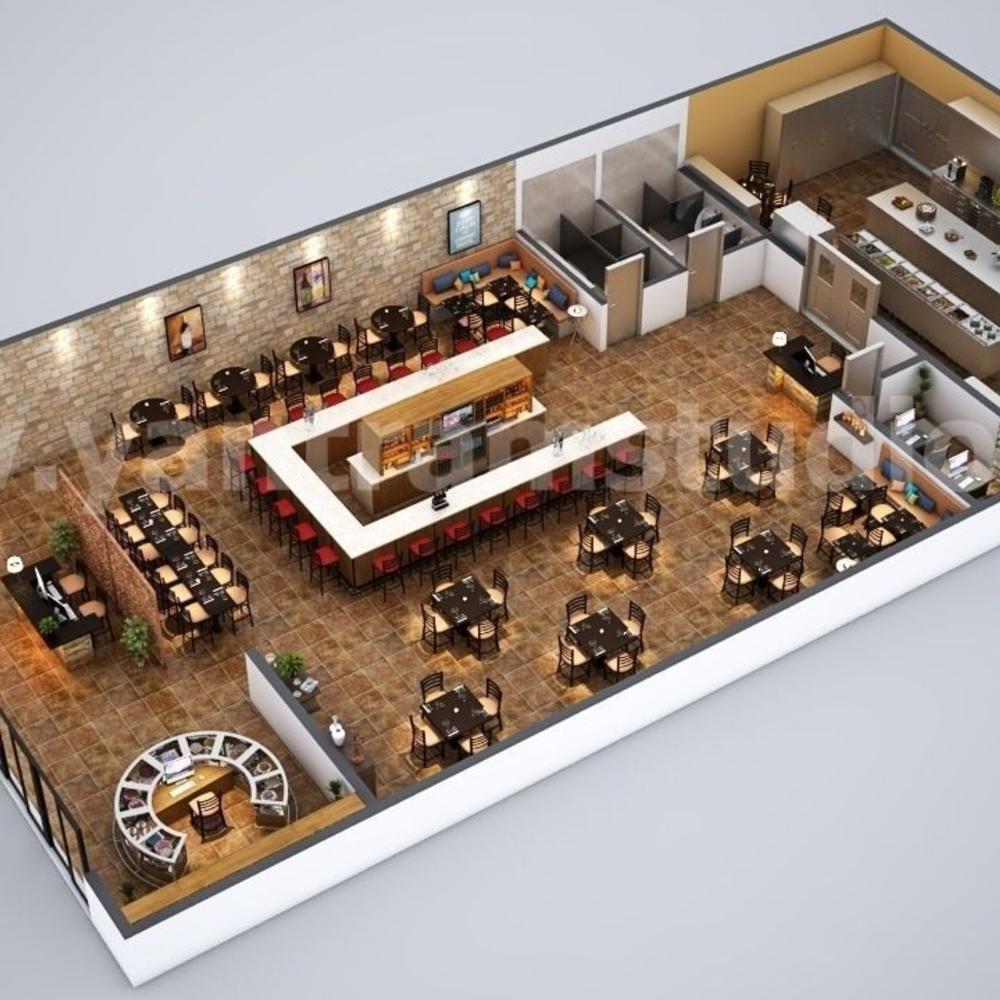 Fully Modern Bar 3d Floor Plan Design Ideas By Yantram Architectural Planing Companies Cape Town South In 2020 Floor Plan Design Cafe Floor Plan Restaurant Floor Plan
