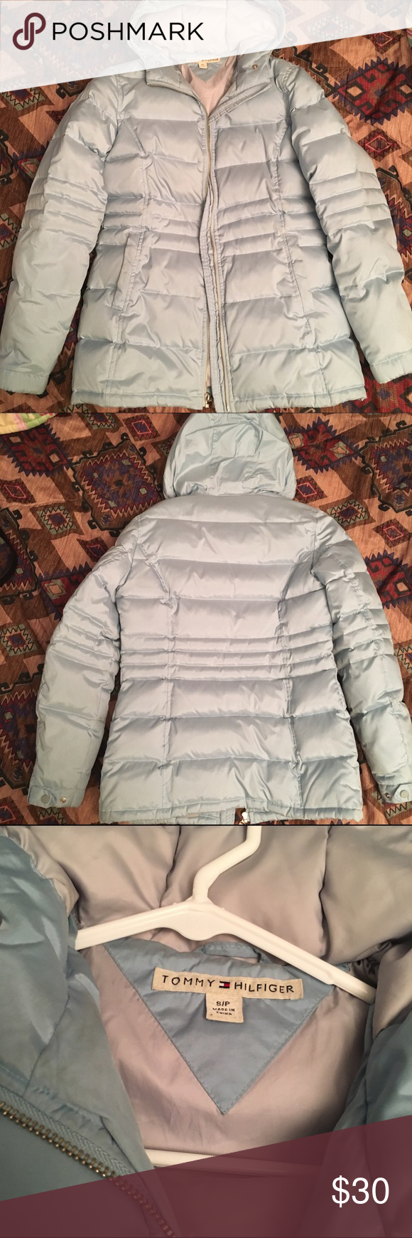 Tommy Hilfiger Puffer Jacket in Powder Blue Powder Blue Tommy Hilfiger Jackets & Coats Puffers