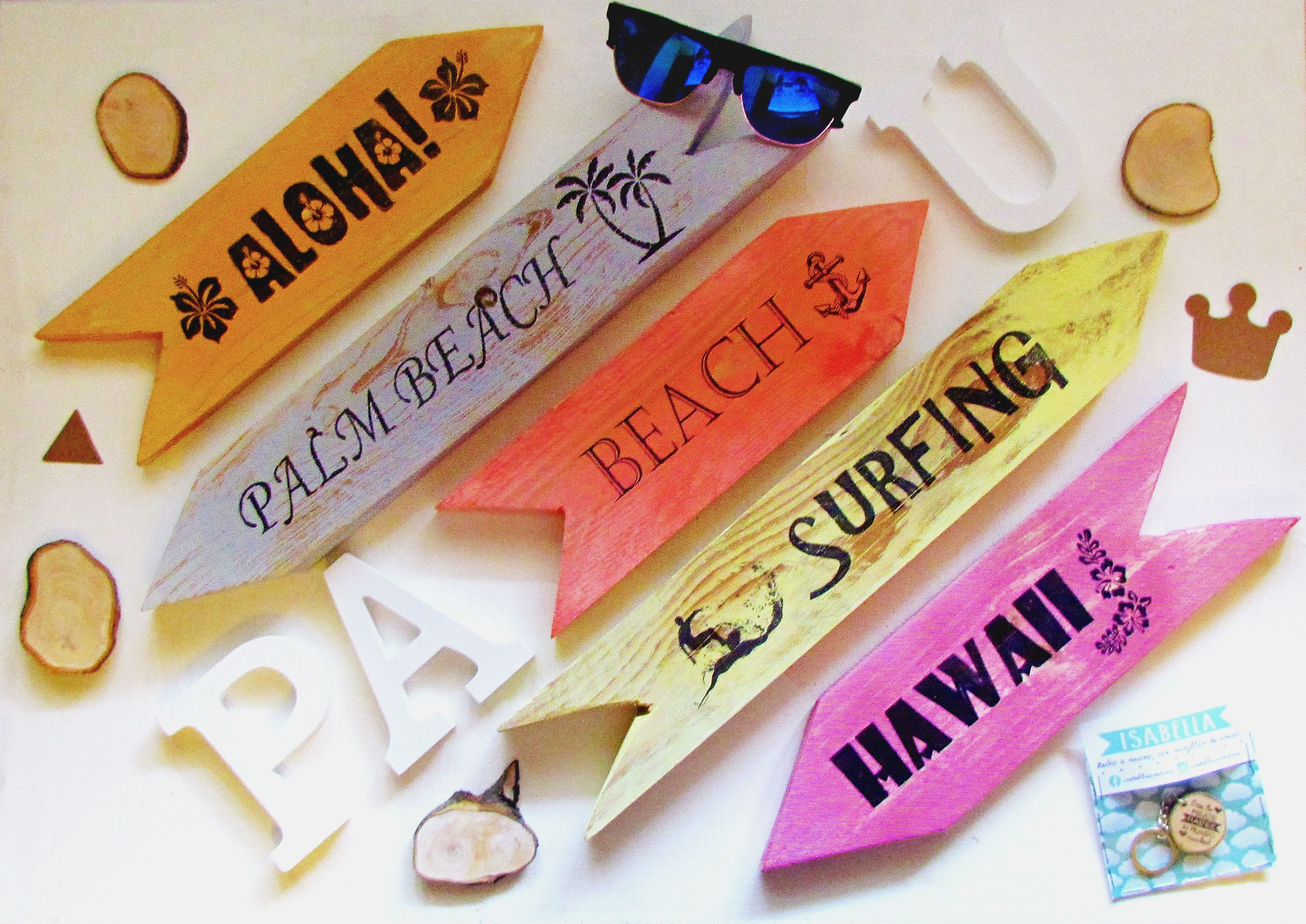 Beach playa flechas hawai surfing aloha - Scrabble decoracion ...