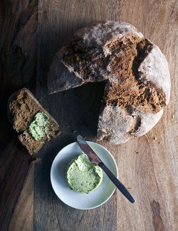 Irish-Stout-Sode-Bread_slice-and-compound-scallion-and-garlic-butter_Yes,-more-please!