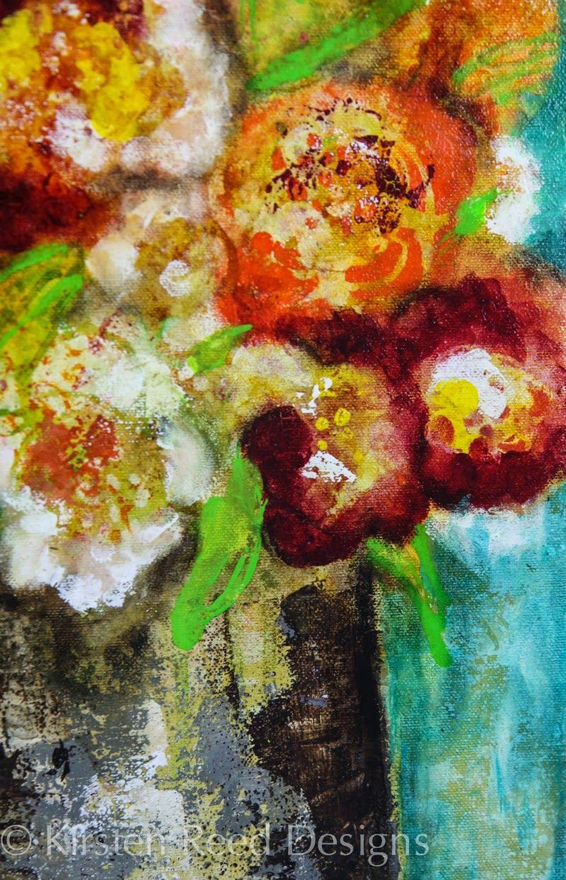 Mixed Media Painting using StnencilGirl stencils by Kirsten Rreed- keystrokes & kaleidoscopes: StencilGirl & Traci Bautista Create Flower Power!