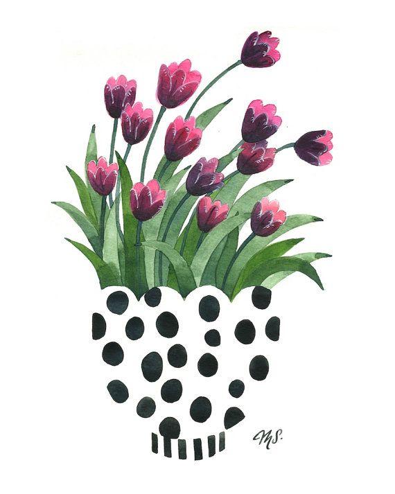 modern floral illustration tulipstheartofmichelle on etsy