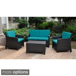 Lisbon Resin Wicker International Caravan Outdoor Settee Group With Corded Cushions Set Of 4 Blue Size Piece Sets Patio Furniture Fabric
