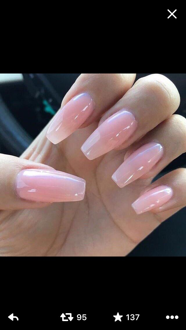 pinkish clear nails pink gel
