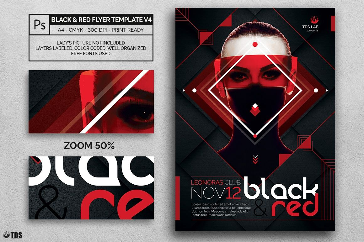 Black And Red Flyer Template V Photoshop Psd File  Help File