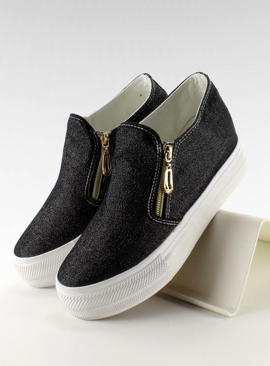 Slip On Jeansowe Na Koturnie Ng621 Black Sklep Z Butami I Hurtownia Obuwia Kupbuty Com Vans Classic Slip On Sneaker Shoes Vans Classic Slip On