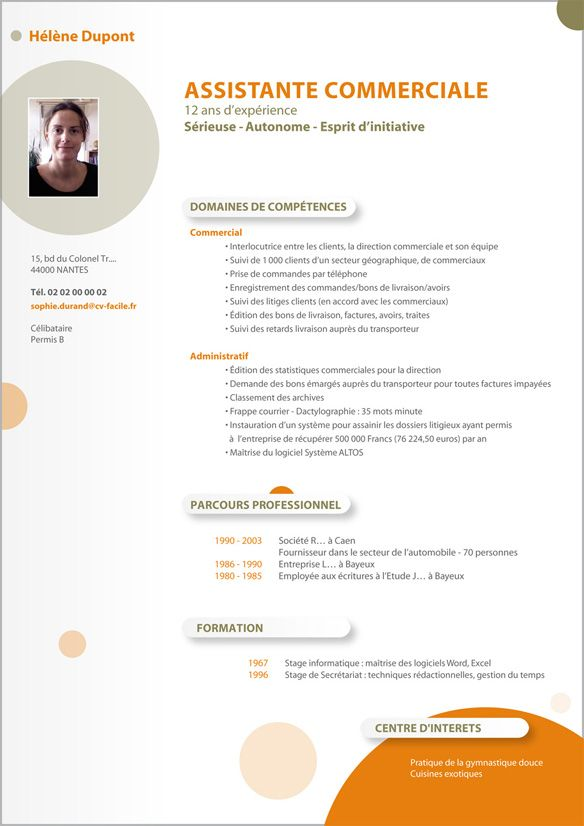 Telecharger Exemple De Cv D Un Commercial Cv Commerciale Exemple Cv Cv Assistante Commerciale