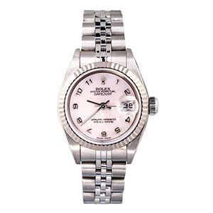 A superior Datejust watch by Rolex from 2000 in stainless steel. Featuring roman numerals and a date panel at the three o'clock position on its mother of pearl dial. #vintagewatch #rolex #motherofpearl